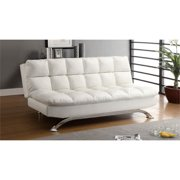 Furniture of America Preston Leather Tufted Sleeper Sofa Bed in White