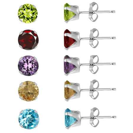 - Set of 5 Pairs of 3mm Round Genuine Gemstones Sterling Silver Stud Earrings - Amethyst, Peridot, Garnet, Citrine and Blue Topaz