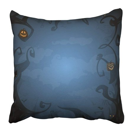 ARTJIA Dark Blue Halloween with Place for Text Trees Clouds Bats Scary Branches in Twilight Pumpkins Pillowcase 16x16 inch](Halloween Pumpkin Designs Scary)