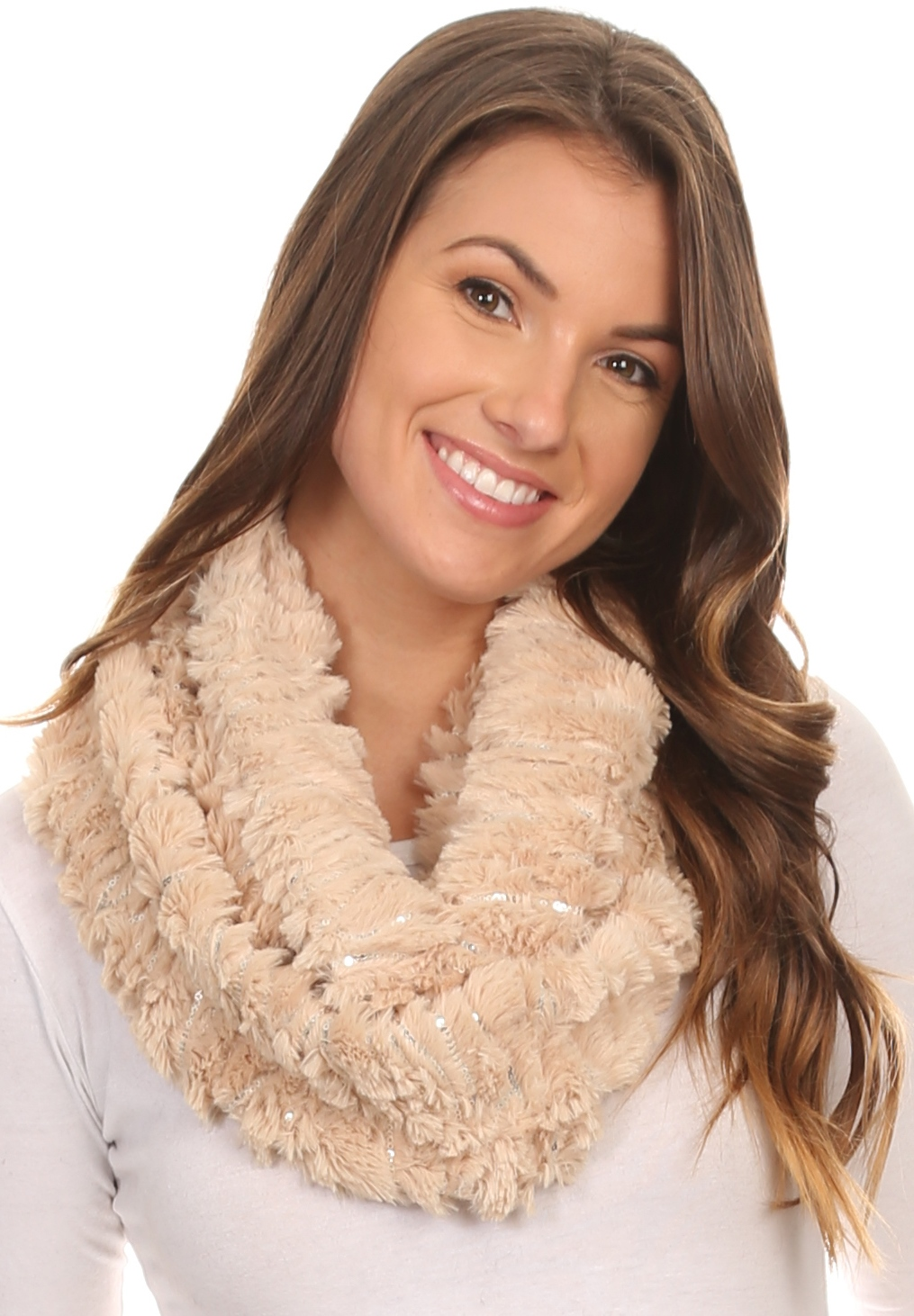 Sakkas Caymen Long Wrap Around Faux Fur Solid Color With Sequins Infinity Scarf - Beige - OS