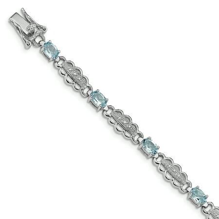 925 Sterling Silver Blue Aquamarine Diamond Bracelet 7 Inch Gemstone For Women Gift (Jewel Gift Set)