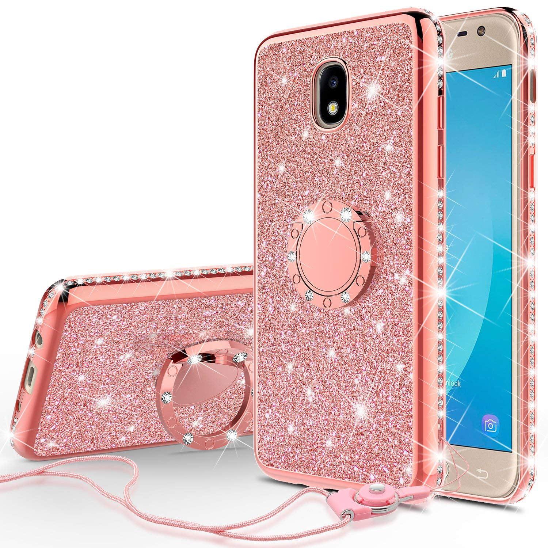 sneakers for cheap 6e3b1 c91dc Cute Girls Women Glitter Phone Case for Samsung Galaxy J7 Star Case,J7v 2nd  Gen,J7 2018,J7 Crown,J7 Refine Case Kickstand Bling Diamond Bumper Ring ...