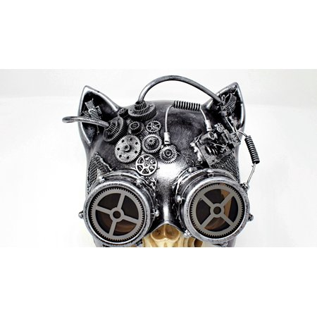 Steampunk Cat Mask Mechanical Half Cat Woman Skull Face Mask Gears and Goggle Costume Cosplay - Skull Paint Face Halloween