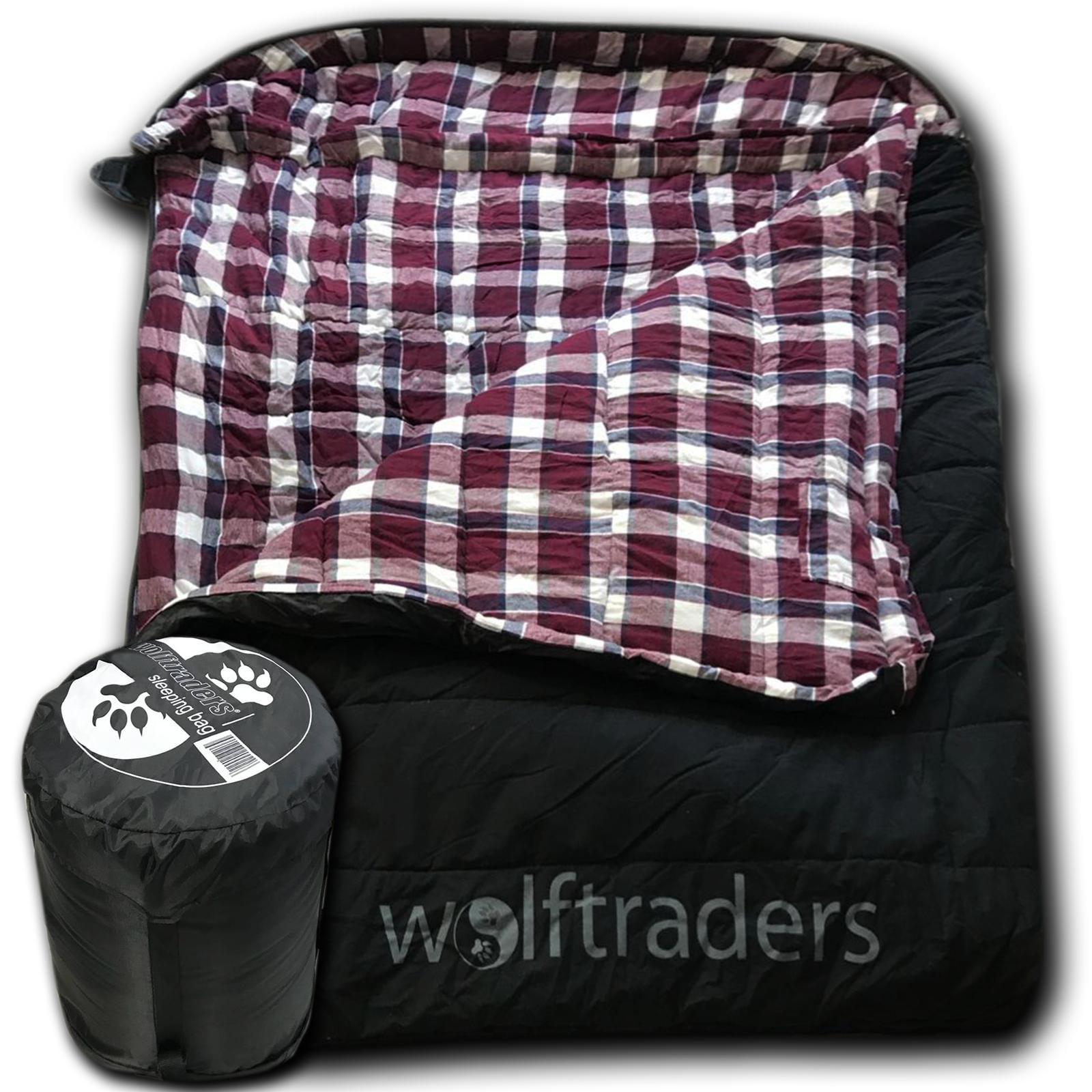 Wolftraders TwoWolves +0 Degree 2-Person Premium Canvas Sleeping Bag, Black/Purple