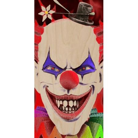 Scary Clown Teeth (Scary Evil Clown w/ Sharp Teeth Smiling Closeup - Plywood Wood Print Poster Wall)