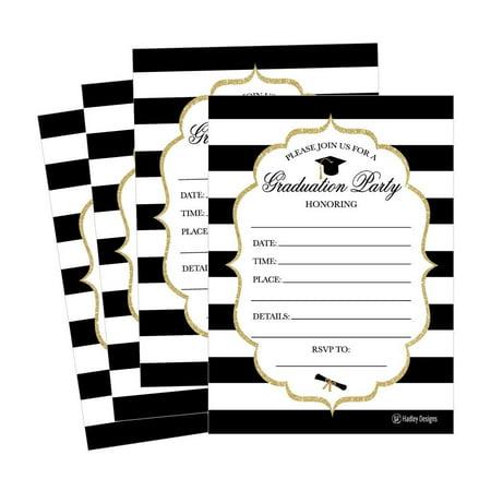 25 Elegant Graduation Party Announcement Invitations For 2018 College, High School, University Grad Celebration Invite Cards, Black Gold Fill In Invitations For Graduation Party Decorations Supplies - Grad Invites