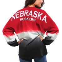 Nebraska Cornhuskers Women's Ombre Long Sleeve Dip-Dyed Spirit Jersey - Scarlet
