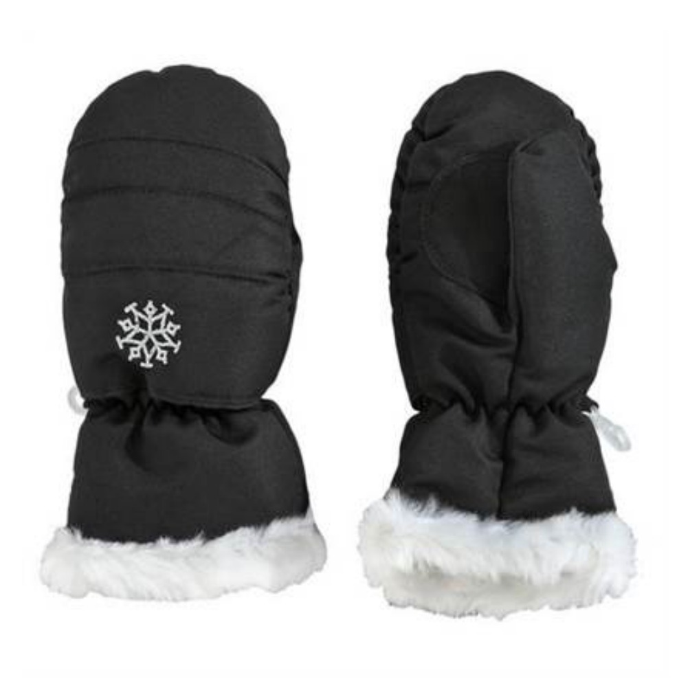 Aquarius Girls Black Faux Fur Trim Snow & Ski Mittens Fleece & Thinsulate Lining