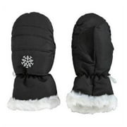 Girls Black Faux Fur Trim Snow & Ski Mittens Fleece & Thinsulate Lining