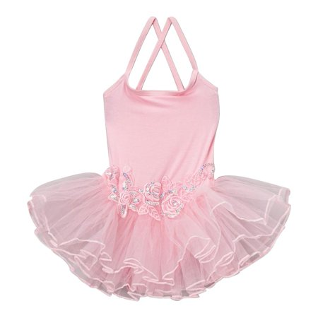 Ballet Flower (Wenchoice Little Girls Pink Flower Spaghetti Strap Ballet Dress )