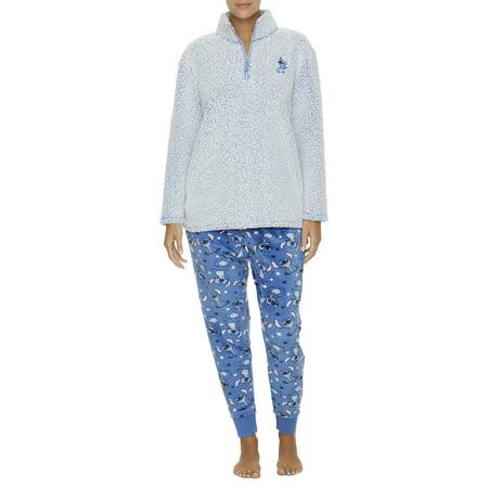 Disney Women's and Women's Plus Stitch Sherpa Sleep Top and Pant Pajama Set (Disney Womens Pajamas)