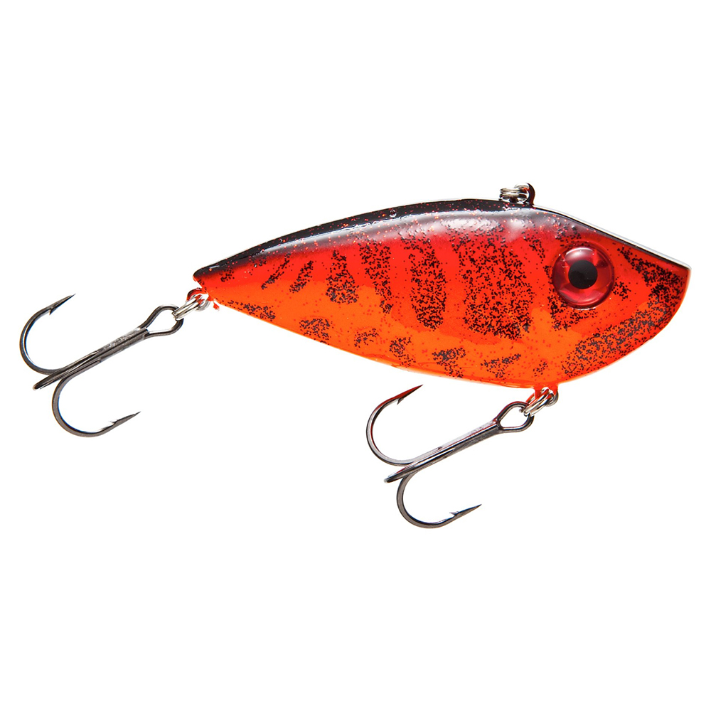"Strike King Lures Red Eyed Shad 1/2 oz Hard Lipless Crankbait Lure 3 1/4"" Length. 8' Depth, Two Number 6 Treble Hooks, Chili Craw, Per 1"