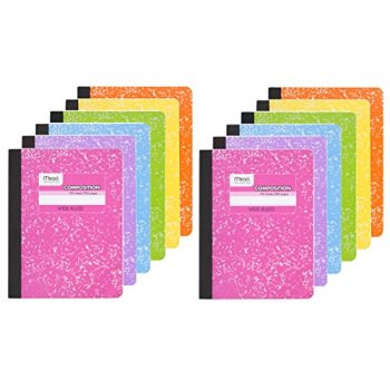 Mead Composition Book, Wide Ruled Notebook, 100 sheets (200 Pages) , Pastel Color Notebooks, 12 Pack