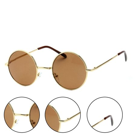 Retro Hipster Round Frame Sunglasses Unisex - Gold (Hipster Glasses For Girls)