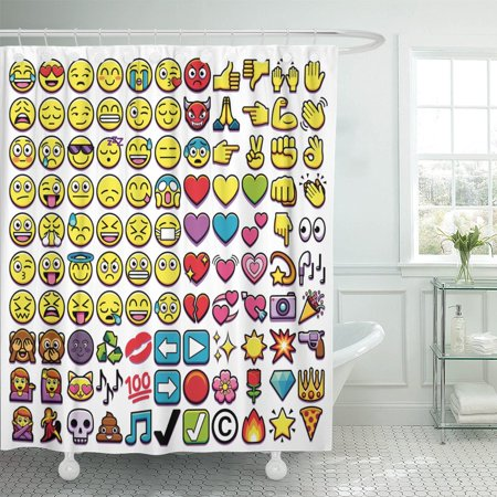PKNMT Monkey of Different 110 Emojis Cat Heart Smile Happy Polyester Shower Curtain 60x72 inches (Monkey Go Happy Halloween Heart)
