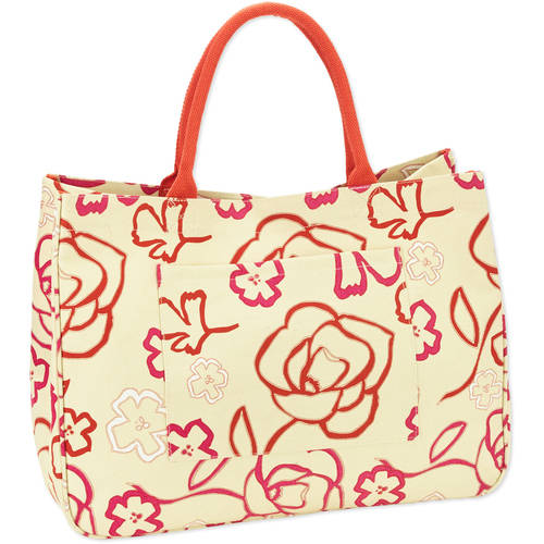 No Boundaries 20''Women's Printed Canvas Tote Beach Bag - Walmart.com