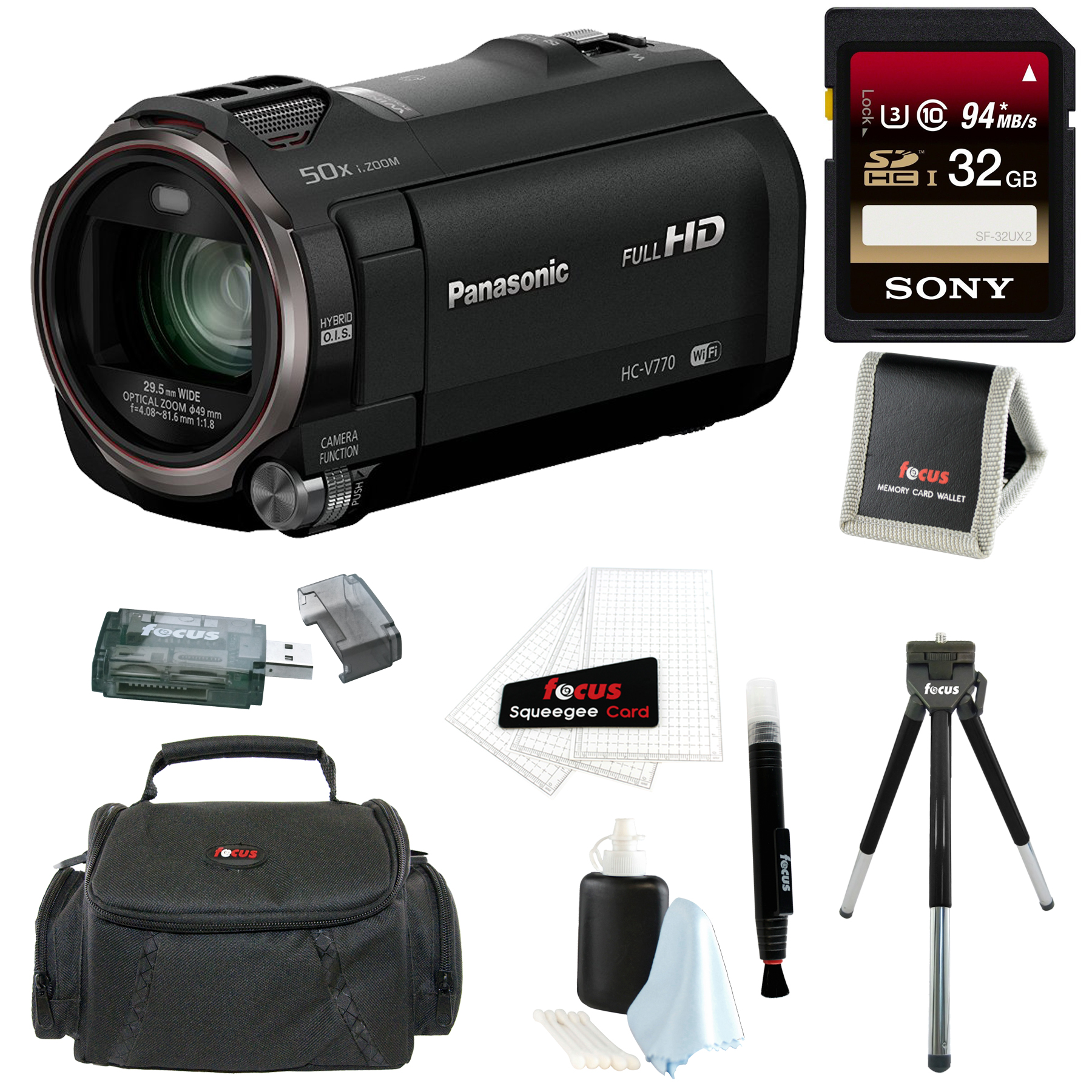 Panasonic HC-V770 HD Camcorder w/ SanDisk 64GB SD Card & ...