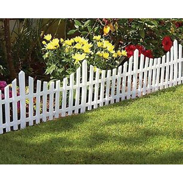 24pcs 48 Ft Long White Flexible Plastic Garden Picket Fence Lawn