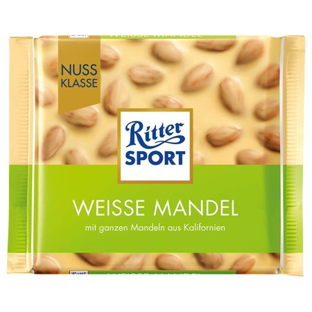 Ritter Sport White Almond Chocolate Bar Candy Original German Chocolate (Germany Candy)