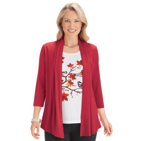 Women's Fall Women's Open Front Knit Cardigan 2-In-1 Sweater Set with Attached Chickadee Tank Top, Large,