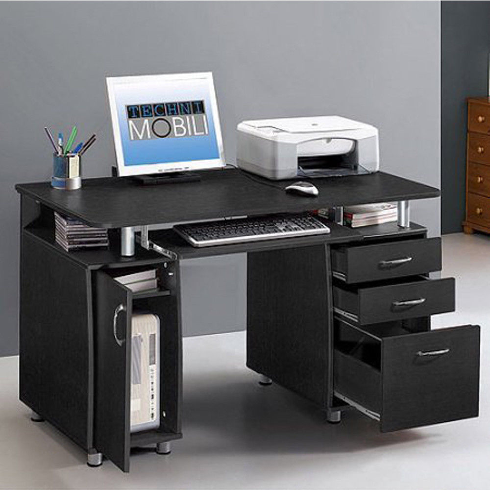 Zimtown Computer Desk Study Writing Table with 3 Drawers Home Office Storage Black