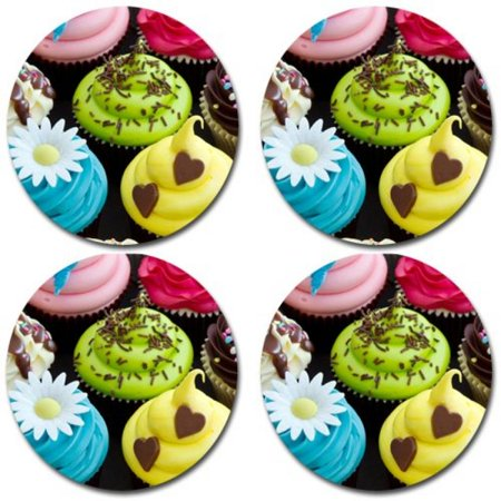 Cupcakes Rubber Round Coaster set (4 pack) Great Gift Idea