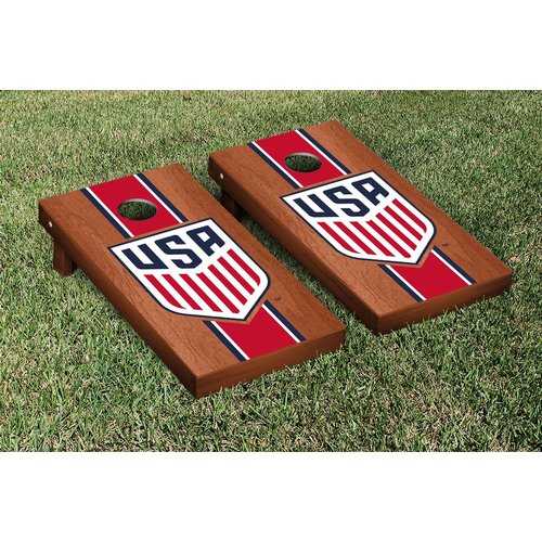 Victory Tailgate US Soccer USSF Rosewood Stained Stripe Version Cornhole Game Set by