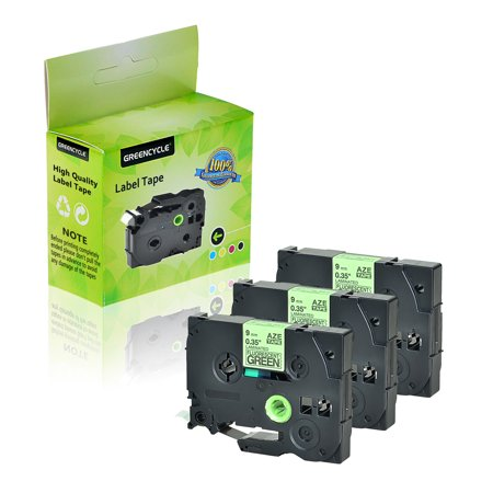 GREENCYCLE 3 Pack Compatible TZ TZe TZe-D21 TZD21 TZ-D21 TZeD21 Label Tape 9mm 0.35 Inch Black on Fluorescent Green Laminated use in Brother P-Touch Cube PT-D600 PT-H110 PT-D210 PT-D400 Label