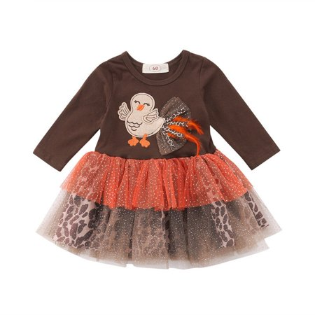 2bb114e05a7b Newborn Baby Girls Thanksgiving Dress Party Tutu Outfit Infant Long Sleeve  Turkey Leopard Print Clothes - Walmart.com