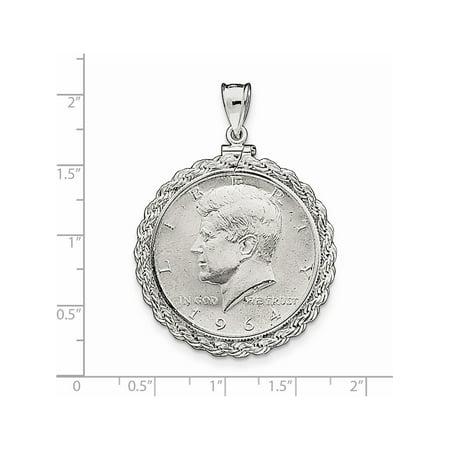 925 Sterling Silver 30.5 x 2.1mm $0.50 Rope Coin Bezel (36x50mm) Pendant / Charm Pendant / Charm - image 1 de 2