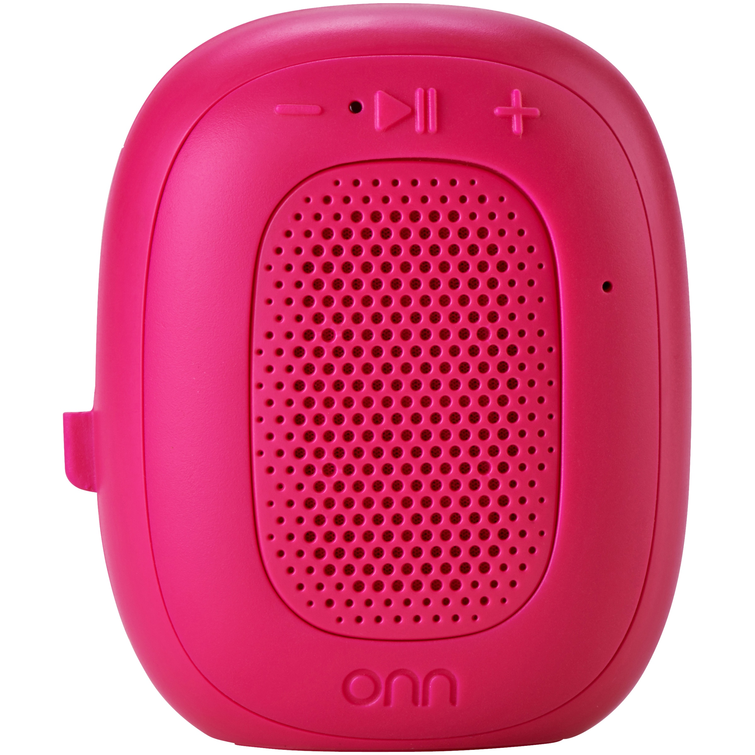 ONN Mini Bluetooth Speaker, Rich Black, Built-In Speakerphone & Hanging Strip