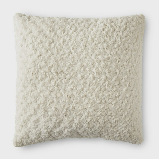"Better Homes & Gardens Rosette Plush Decorative Toss Pillow, 22"", Ivory"
