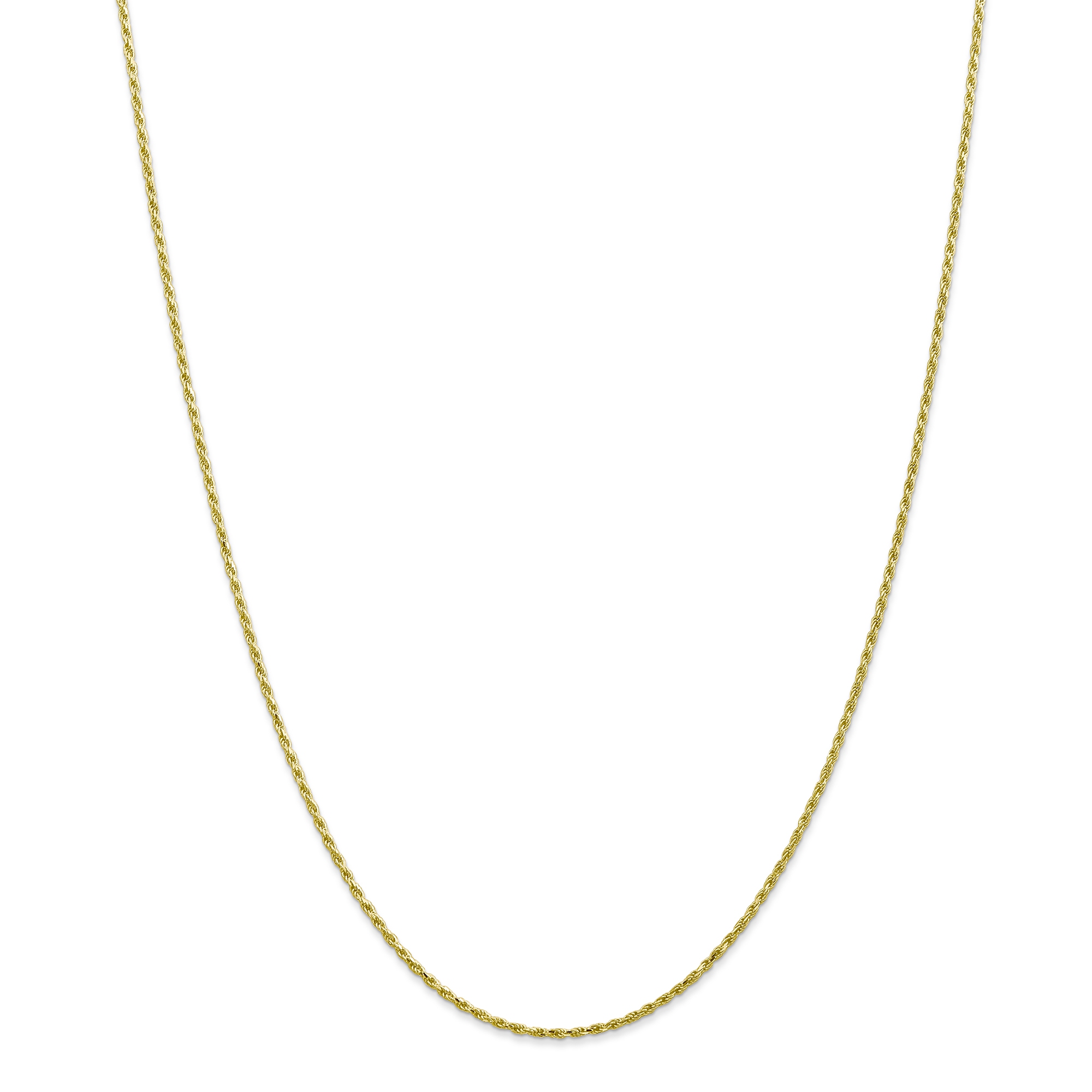 Roy Rose Jewelry 10K Yellow Gold 1.5mm Machine Made Diamond Cut Rope Chain Necklace ~ Length 22'' inches by Roy Rose Jewelry