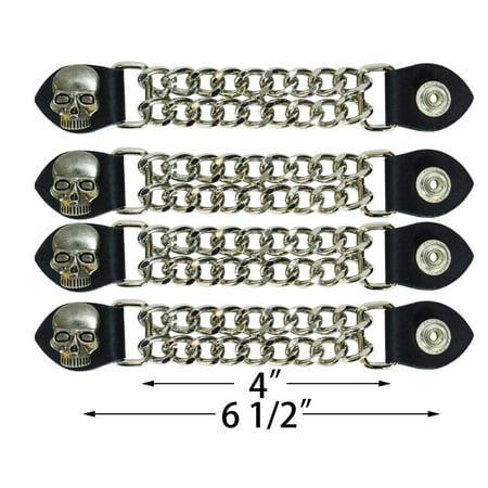 Double Chain Vest Extender (Skull Head Double Diamond Cut Chrome Chain Vest Extender 4 Pcs Per Set)