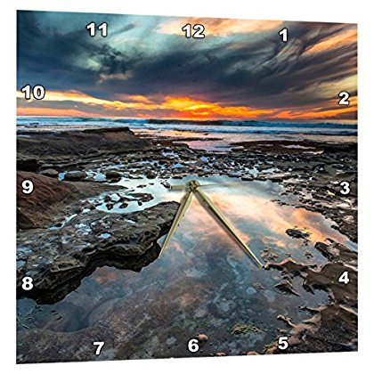 3drose Sunset From The Tide Pools In La Jolla Ca Wall Clock 10 By