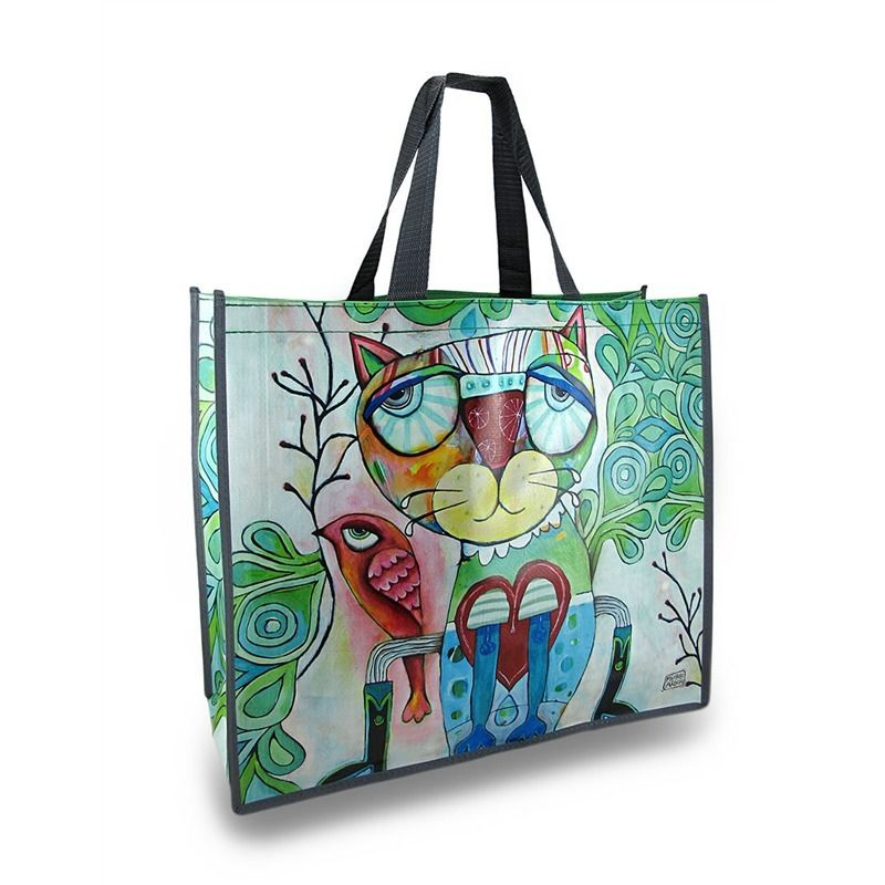 Allen Designs Colorful Cat and Bird Artistic Shopper/Shopping Bag