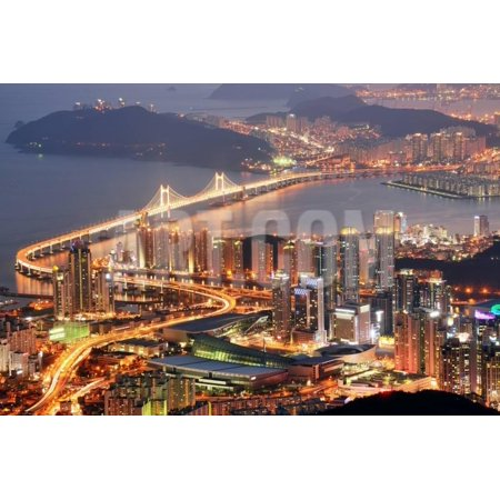 Korean Paper Art - Skyline of Busan, South Korea at Night. Print Wall Art By SeanPavonePhoto