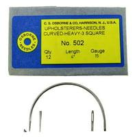 "C.S. Osborne 12 Pk. Curved 3 Square Point Needles Heavy #502-4 (Size 4"")"