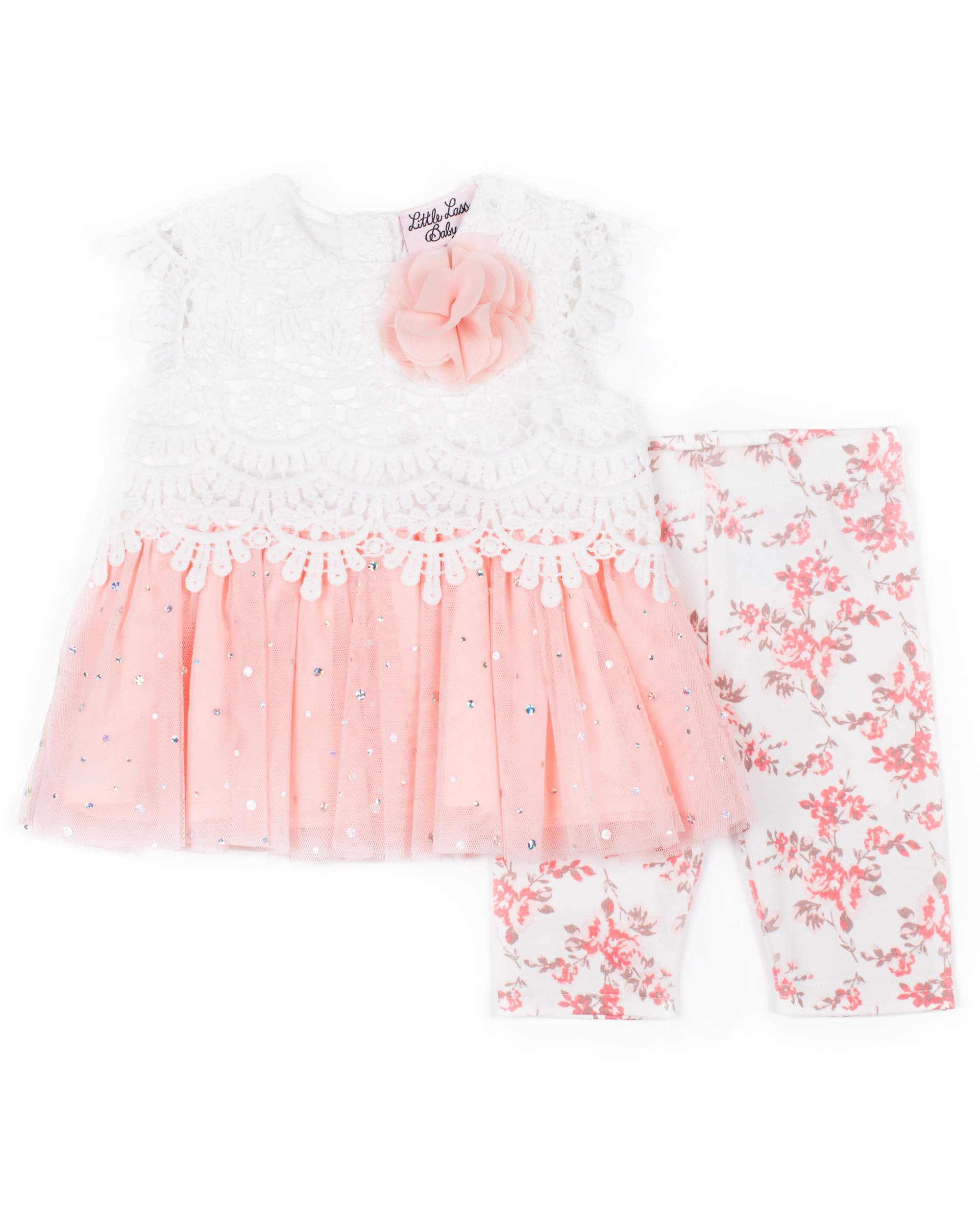 Glitter Lace Tulle Dress & Floral Printed Capri, 2pc Outfit Set (Baby Girls & Toddler Girls)