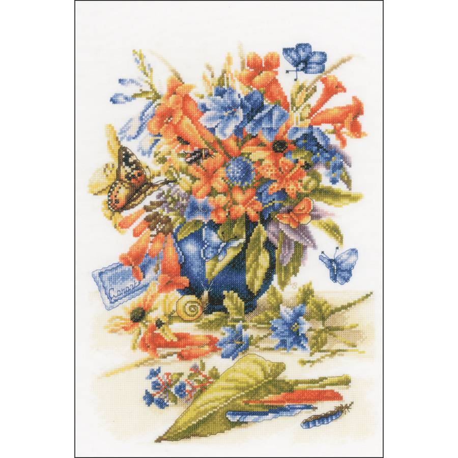 """LanArte Flower Vase On Cotton Counted Cross Stitch Kit, 10.25"""" x 15.5"""", 27-Count"""