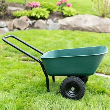 Garden Star Dual-Wheel, Poly Tray Garden Barrow Wheelbarrow ()