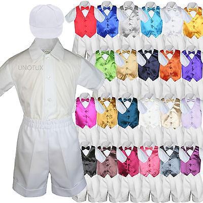 White Boy Toddler Formal Vest Shorts Suit Satin Vest Bow Tie Hat 5PC Set sz S-4T for $<!---->