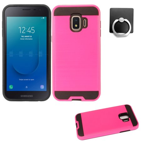 For Samsung J2 Prue Case / J2 Core Case / Galaxy 2 (2019)  + Phone Holder with Slim Brush Shockproof Dual-Layered Cover (Slim Pink + Ring Stand