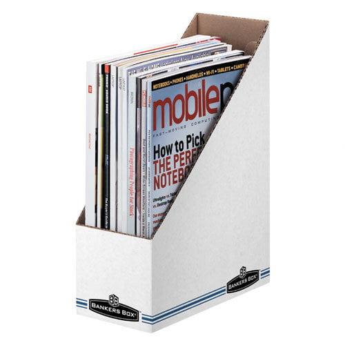 Fellowes Mfg. Co. Economy/Storage Magazine File, 3-7/8''x9-1/4''x11-3/4'', WhiteBlue (Set of 4)