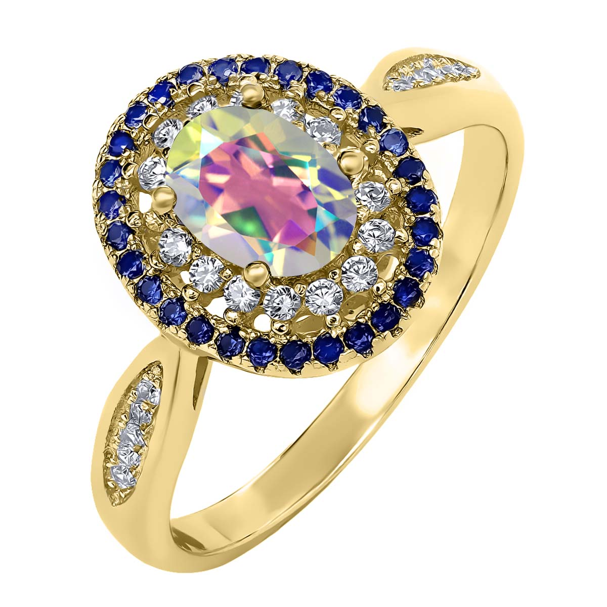 1.55 Ct Mercury Mist Mystic Topaz 18K Yellow Gold Plated Silver Ring