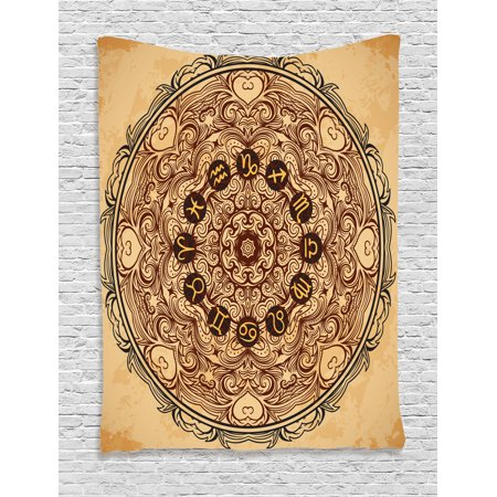 Zodiac Decor Tapestry, Micro Cosmos Universe Icon Eastern Lace Mandala Form with Signs on Grunge Back, Wall Hanging for Bedroom Living Room Dorm Decor, 60W X 80L Inches, Brown Tan, by Ambesonne