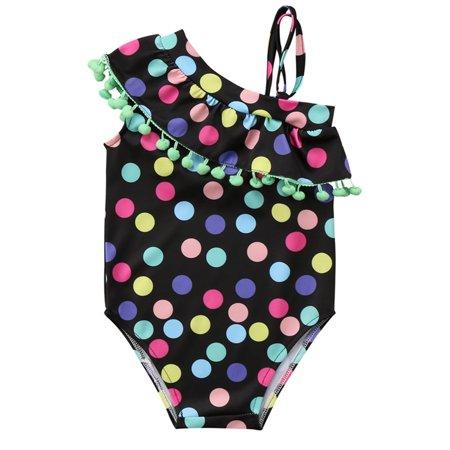 Little Girls Polka Dots One Shoulder Pom Pom Trims One-Piece Swimsuit (110/5-6 Years)