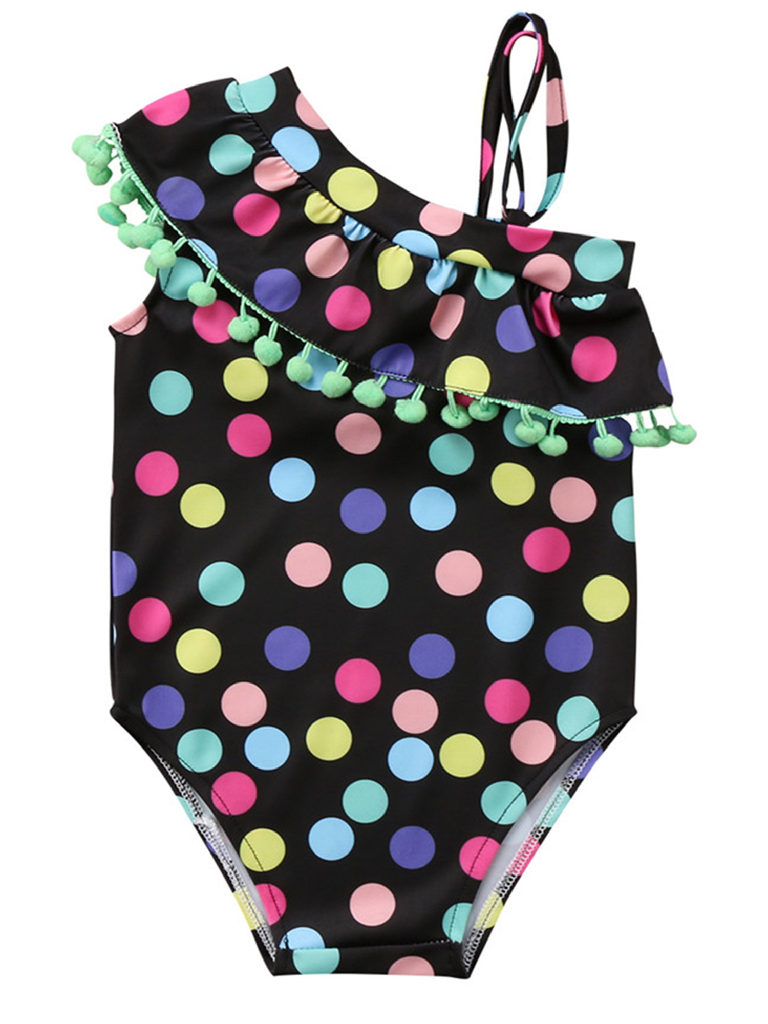 Little Girls Polka Dots One Shoulder Pom Pom Trims One-Piece Swimsuit (110/5-6 Years)