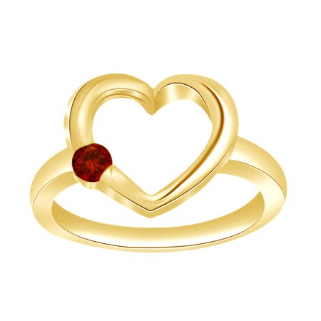 Open Round Ring (Round Red Simulated Garnet Open Heart Engagement Ring in 14k Yellow Gold Over Sterling Silver Ring Size - 4 )