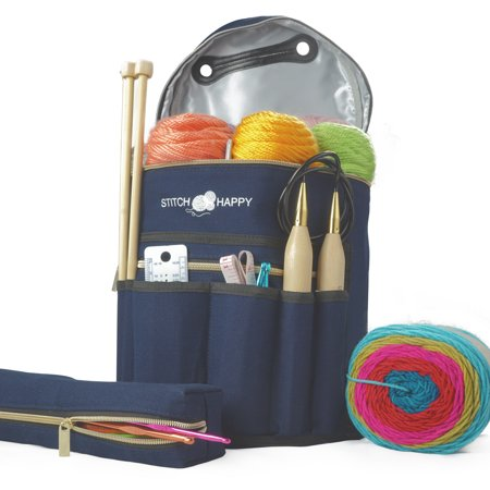 Knitting Bag - Yarn Tote Organizer w/Tool Case, 7 Pockets + Divider for Extra Storage of Projects, Supplies & Crochet (Navy) by Stitch Happy (Craft Totes)